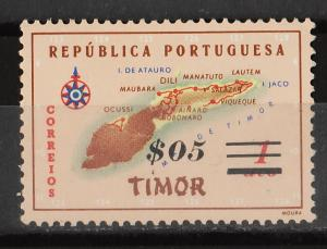 Timor 1960 Surcharge on '1956 Map of Timor' 1a+$05 (1/10) USED