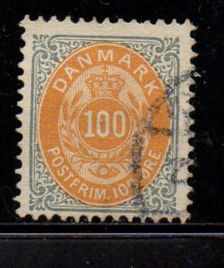 Denmark Sc 34 1877 100 ore gray & orange stamp used
