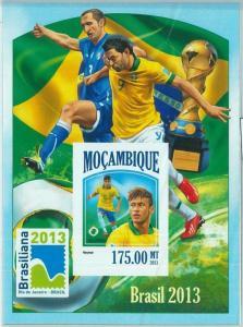 1472 - MOZAMBIQUE - ERROR, 2013 IMPERF SHEET: Soccer, Footbal, Neimar, Brazil