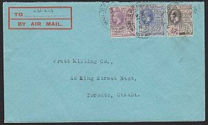 BR GUIANA 1934 airmail cover to Canada - nice franking with GV 48c..........H333
