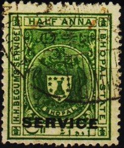 India(Bhopal). 1930 1/2a S.G.O309 Fine Used