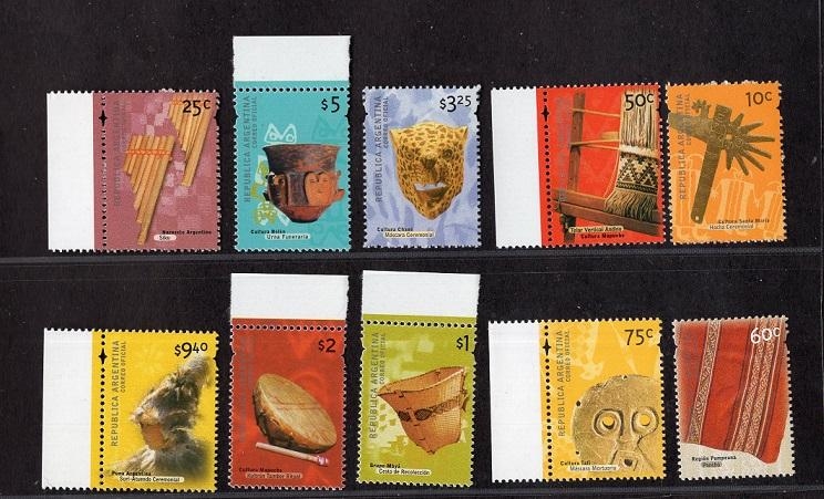 Argentina   #2125-2134  MNH 2000  archaeological artifacts