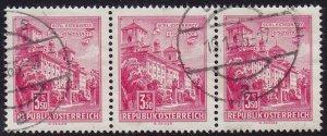 Austria - 1962 - Scott #699 - used strip of 3 - Eisenstadt