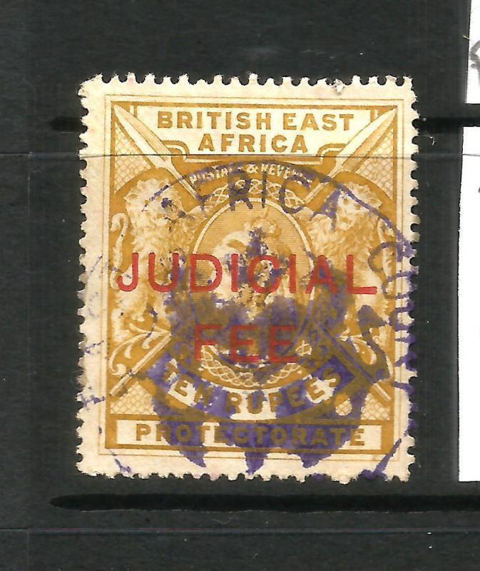 BRITISH EAST AFRICA  1897  10r  QV JUDICIAL FEE REVENUE