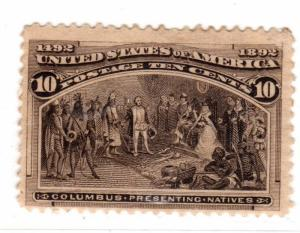 $ US Scott #237used, H.hinged, fine-VF, remnants + adhesions on gum