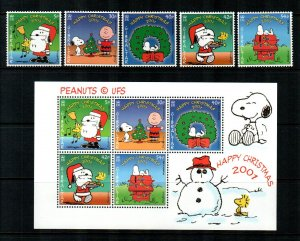 Gibraltar 2001,Christmas Snoopy Peanuts  MNH S/Sheets + set # 890-894a
