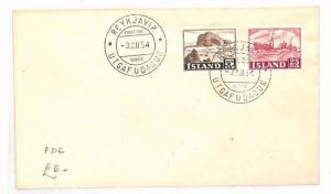 ICELAND First Day Cover Reykjavik FDC SHIPS 1954 {samwells-covers}BF182