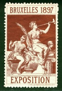 BRUSSELS EXHIBITION STAMP/LABEL Belgium 1897 *BRONZE* Printing Mint MM B2WHITE29