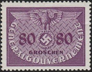 Stamp Germany Poland General Gov't Official Mi 12 Sc NO12 1940 WW2 War Era MH