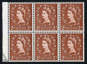 SB78 2d Light Red-Brown Wmk Edward Upright Booklet Pane U/M
