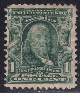 US STAMP #300 – 1903 1c Franklin, blue green UNUSED RG STAMP