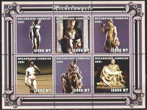 Mozambique. 2001. Small sheet 2127-32. Michelangelo, sculptures. MNH.