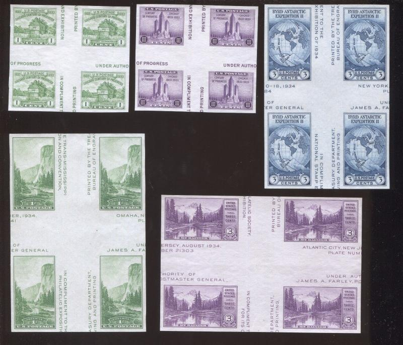 1935 US Postage Stamps #766-770 Mint VF No Gum Center Block with Crossed Gutters