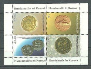 KOSOVO  2006 Mi.59/62 Numizmatic in Kosova block MNH