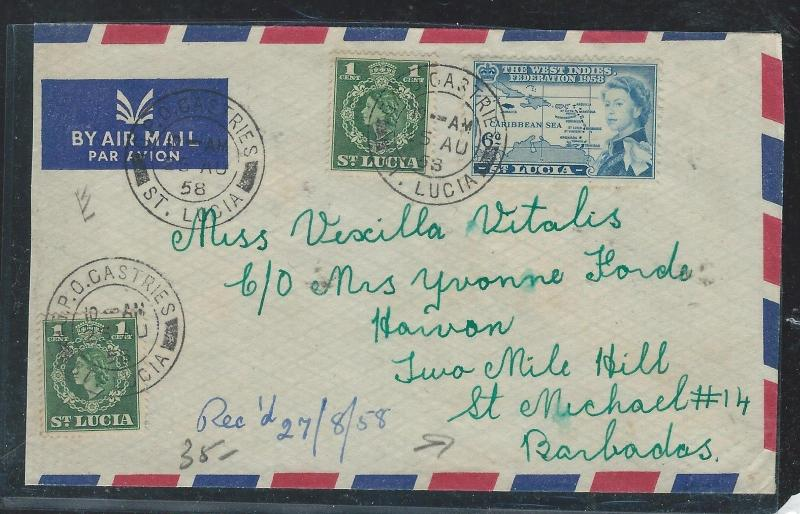 ST LUCIA (P2906B) 1958 QEII 1CX2+ UNIVERSITY 6C A/M TO BARBADOS INTER ISLAND