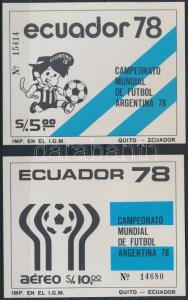 Ecuador stamp Football World Cup 2 diff block MNH 1978 Mi 85-86 WS237085