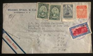 1947 Guatemala Commercial Airmail Cover to Jude LTD Prague Czechoslovakia