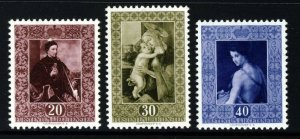 LIECHTENSTEIN 1952 Paintings from Princes Collection Set SG 305 to SG 307 MINT
