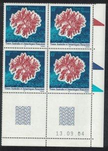 FSAT TAAF Peigne de Neriedes Antarctic Flora SE Block of 4 Date SG#537 MI#563