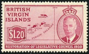 British Virgin Islands Scott 101 Unused OG -$1.20 Map of the Islands - SCV $3.50