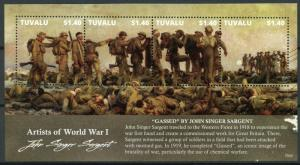 Tuvalu Stamps 2015 MNH WW1 WWI Artists First World War John Singer Sargent 4v MS