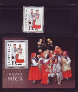 Latvia Sc 400-1 1995 Nica Costumes stamp & sheet mint NH