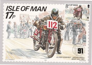 Isle of Man # 472-476, Tourist Motorcycle Races, Maxi Cards, First Day Cancels