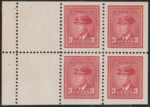 Canada USC #251a Mint VF-NH 1942 3c Carmine Booklet Pane of Four - VF-NH