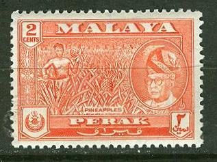 Malaya-Perak # 128 Pineapple Growing (1) VF Unused