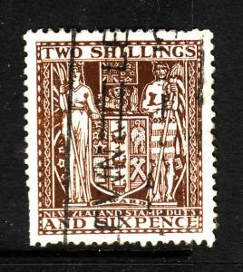 New Zealand-Sc #AR48-used 2sh brown Postal-Fiscal coat of arms-1931-39-