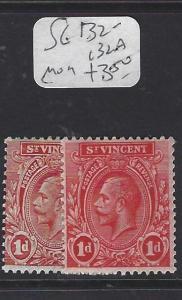 ST VINCENT (P1410B)  KGV  1D  SG 132-132A   MOG