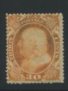 1860 US Stamp #38 30c Mint Original Gum Grade 60 Catalogue Value $1900 Certified