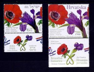 ISRAEL CROATIA 2017 BOTH STAMPS JOINT ISSUE MNH FLOWER IRIS ANEMONE