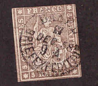 Switzerland Scott 25 Used 1855 Strubel seated Helvetia