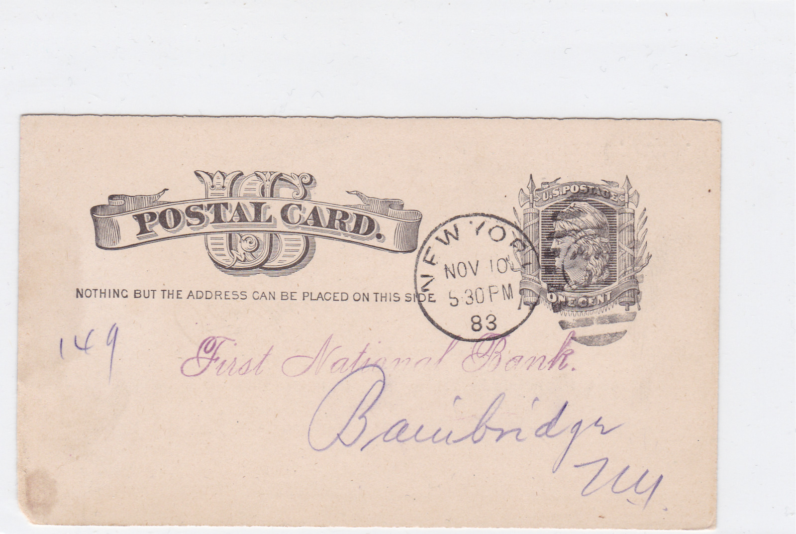 united states 1883 chase national bank stamps postal card