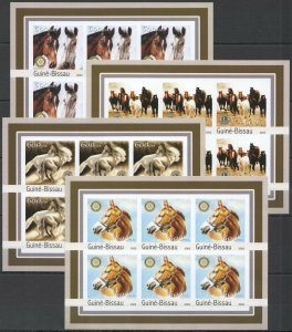 KV292 IMPERFORATE 2003 GUINEA-BISSAU NEW FARM ANIMALS HORSES LIONS 6SET MNH