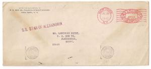 5c C meter stamp MAILED 2 EGYPT repeating censor ship mark