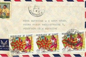 GUINEA Air Mail Cover *Nzérékoré* MIVA MISSIONARY *Skiing* Austria 1988 CA258