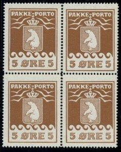 GREENLAND #Q3 (P5III) 5ore Pakke Porto, 3rd printing, Block of 4, og, NH, VF+