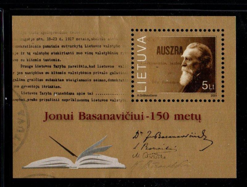 Lithuania Sc 709 2001 Dr Jonas Basanvicius stamp sheet used