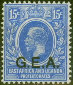 Tanganyika G.E.A 1921 15c Brt Blue SG64 V.F Lightly Mtd Mint