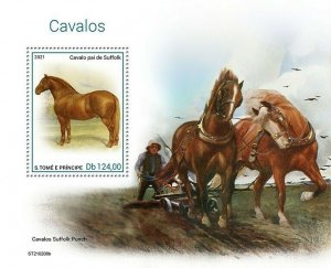 Sao Tome & Principe 2021 MNH Horses Stamps Suffolk Punch 1v S/S