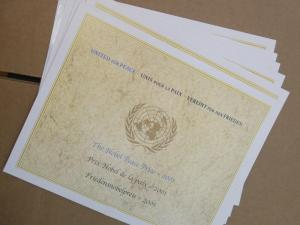 EDW1949SELL : U.N. 2001 Two sets from all 3 Offices of the Nobel Peace Prize MNH