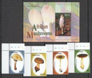 H0156 2007 LESOTHO AFRICAN MUSHROOMS FLORA NATURE BL+SET MNH