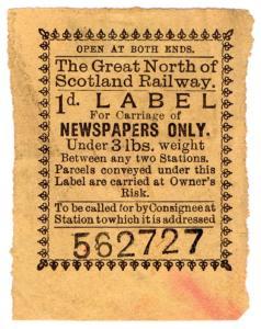 (I.B) Great North of Scotland Railway : Newspaper Parcel 1d