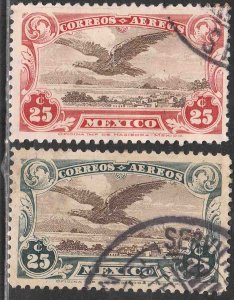 MEXICO C3-C4, Early Air Mail set of two. USED.VF. (1179)