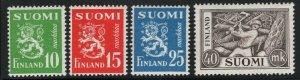 Finland 1952 Rampant Lion set Sc# 302-05 mint