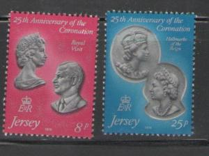 Jersey Sc 195-6 1978 Coronation 25 years stamps  NH
