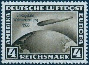 Germany 1933 Graf Zeppelin Chicagofahrt 4RM Stamp MNH Chicago Flight 93964