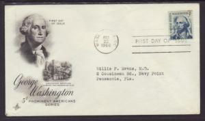 US George Washington 1966 Artcraft Ayerst Typed FDC BIN